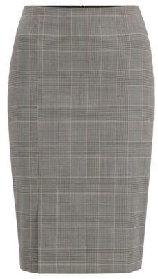 HUGO BOSS Glen Check Pencil Skirt In Italian Virgin Wool - Patterned