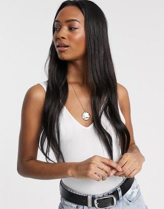 ASOS DESIGN organic cotton v neck vest bodysuit in white