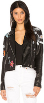 Blank NYC BLANKNYC Embroidered Faux Leather Jacket in Black