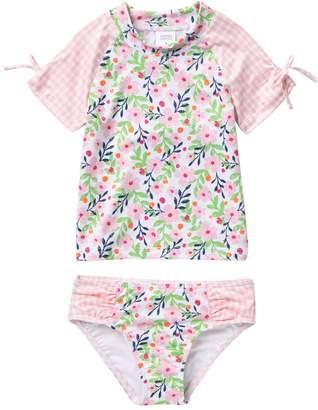 Harper Canyon Ruched Rashguard 2-Piece Swimsuit (Toddler, Little Girls, & Big Girls)