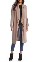 Karen Kane Women's Faux Leather Patch Duster Cardigan