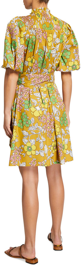 Thumbnail for your product : Tory Burch Pleated Floral-Print Tie-Waist Shirtdress