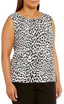 Calvin Klein Plus Animal Print Pleat Neck Matte Jersey Shell