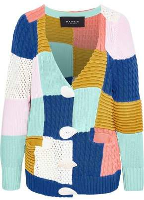 Paper London Patchwork Color-block Cotton Cardigan