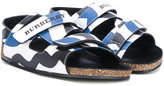 Burberry touch strap striped sandals - kids - Calf Leather/Leather/rubber - 27