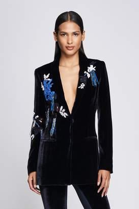 Cushnie Navy Velvet Embroidered Blazer