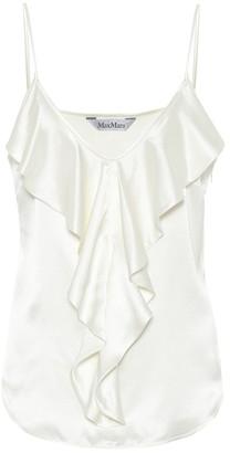 Max Mara Edile silk-satin ruffled camisole