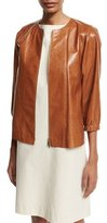 Lafayette 148 New York Wylie Lacquered Lambskin Zip-Front Jacket, Medium Brown