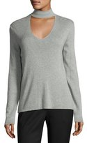 Milly Ribbed Cutaway-Collar Sweater, Gray