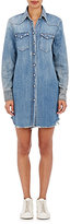 R 13 Women's Cowboy Distressed Denim Shirtdress
