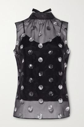 Erdem Koren Tie-neck Polka-dot Sequined Silk-chiffon Top - Black