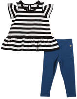 Kate Spade Striped Cold-Shoulder Top W/ Leggings, Size 12-24 Months