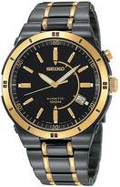 Seiko Mens Kinetic Black & Gold-Tone TiCN Watch SKA366