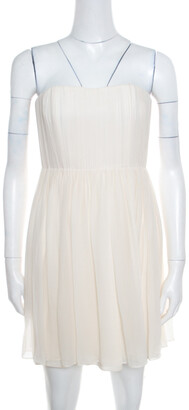 Alice + Olivia Cream Crepe Silk Pleated Bodice Strapless Skater Dress S