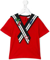 Dolce & Gabbana embroidered sailor top - kids - Cotton/Polyester/Viscose/Nylon - 10 yrs