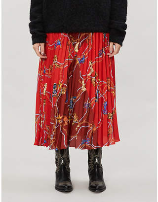 Sandro Boot-print pleated satin midi skirt