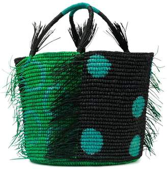 Sensi Studio frayed stripe canasta bag