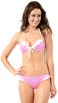 Voda Swim Pink Dot Envy Push Up Ruffle Tie Front Top