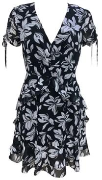 Bar III Floral-Print Surplice Mini Dress, Created for Macy's