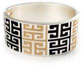 Avalaya Wide Black & Light Cream Maze Enamel Hinged Bangle Bracelet (Silver Tone)