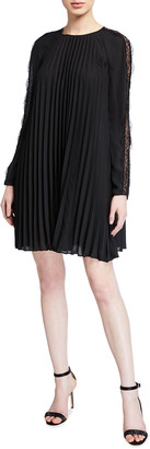 RED Valentino Dopia Pleated Georgette Dress w/ Lace Inset
