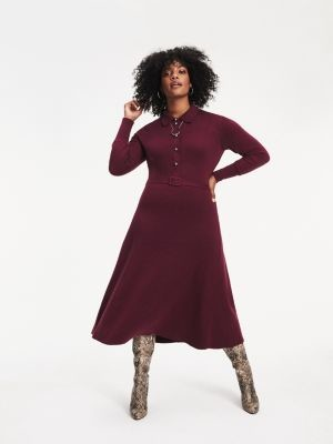 Tommy Hilfiger Zendaya Curve Long Sleeve Midi Dress