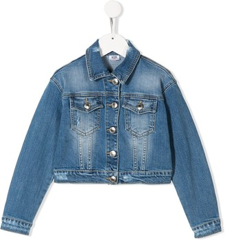 Gcds Kids long sleeve J'adore denim jacket
