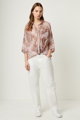 French Connection Danae Crinkle Snake Print Twist Front Top
