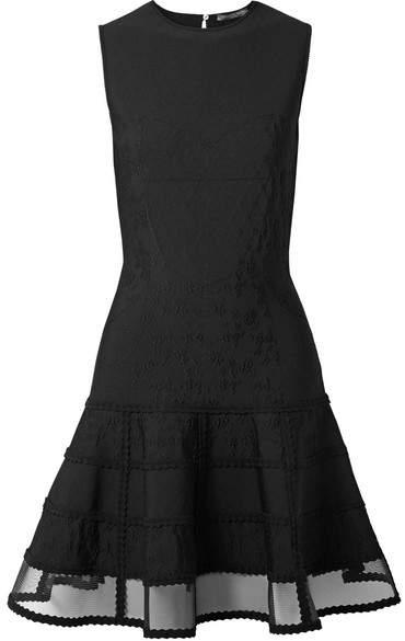 Alexander McQueen Mesh-trimmed Jacquard-knit Mini Dress - Black