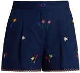 Thierry Colson Macha floral-embroidered cotton shorts