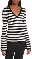 Milly Women's Bell Sleeve V-Neck Sweater