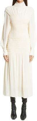 Proenza Schouler Smocked Open Back Long Sleeve Dress