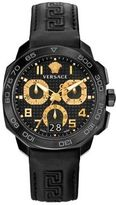 Versace Dylos Stainless Steel Leather Strap Chronograph Watch