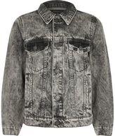 River Island Boys grey skull embroidered denim jacket