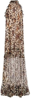 Rachel Zoe Ruffled Leopard-print Chiffon Maxi Dress