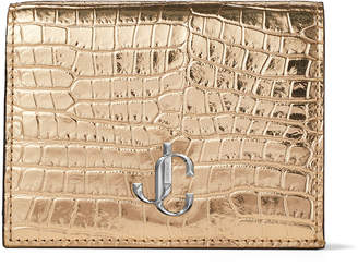 Jimmy Choo HANNE Metallic light gold Croc-Embossed Leather Wallet with JC Emblem