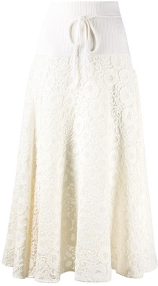 Chloé Floral-Lace Midi-Skirt
