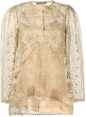 Alberta Ferretti Crochet-Layer Blouse