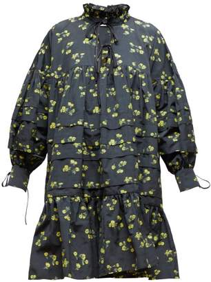 Cecilie Bahnsen - Macy High-neck Floral Fil-coupe Dress - Womens - Black Yellow