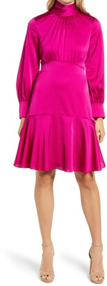 Eliza J High Neck Shirred Long Sleeve Satin Dress