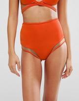 Asos Mix and Match Mesh Insert High Waist Bikini Bottom