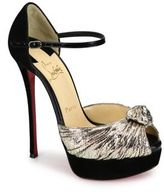Christian Louboutin Marchavekel Knotted Lame D'Orsay Platform Pumps