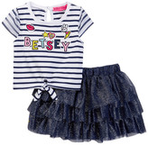 Betsey Johnson Striped Tie Front Tee & Tulle Tutu Skirt Set (Little Girls)
