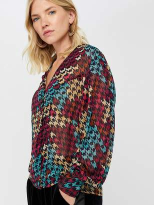 Monsoon Hazel Houndstooth Wrap Top