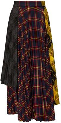 Rokh Asymmetric Pleated Patchwork Midi Skirt