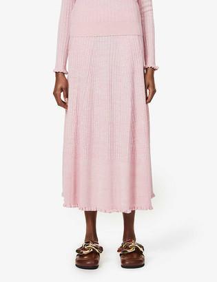 Me And Em Frilled-hem ribbed wool-blend maxi skirt