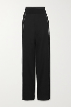 Haider Ackermann Cotton-blend Jersey And Satin-trimmed Wool Wide-leg Pants - Black