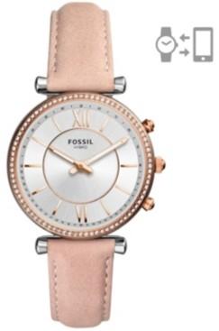 Fossil Women's Hybrid Smart Watch Carlie Blush Leather Strap Watch 36mm