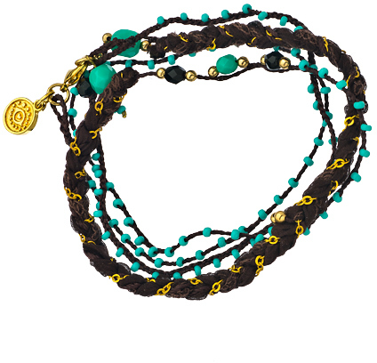Blee Inara Multi Layer Braided Chain and Beaded Wrap Bracelet
