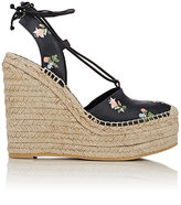 Saint Laurent WOMEN'S ANKLE-TIE ESPADRILLE WEDGE SANDALS